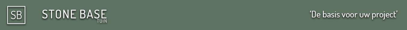 Groene banner met logo Stone base tuin en tekst de basis voor uw project